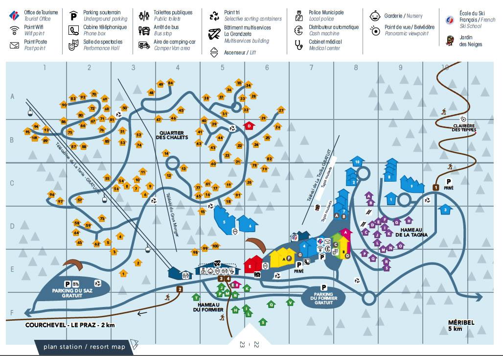 La Tania Map map of the La Tania Ski Resort Village from lataniacouk