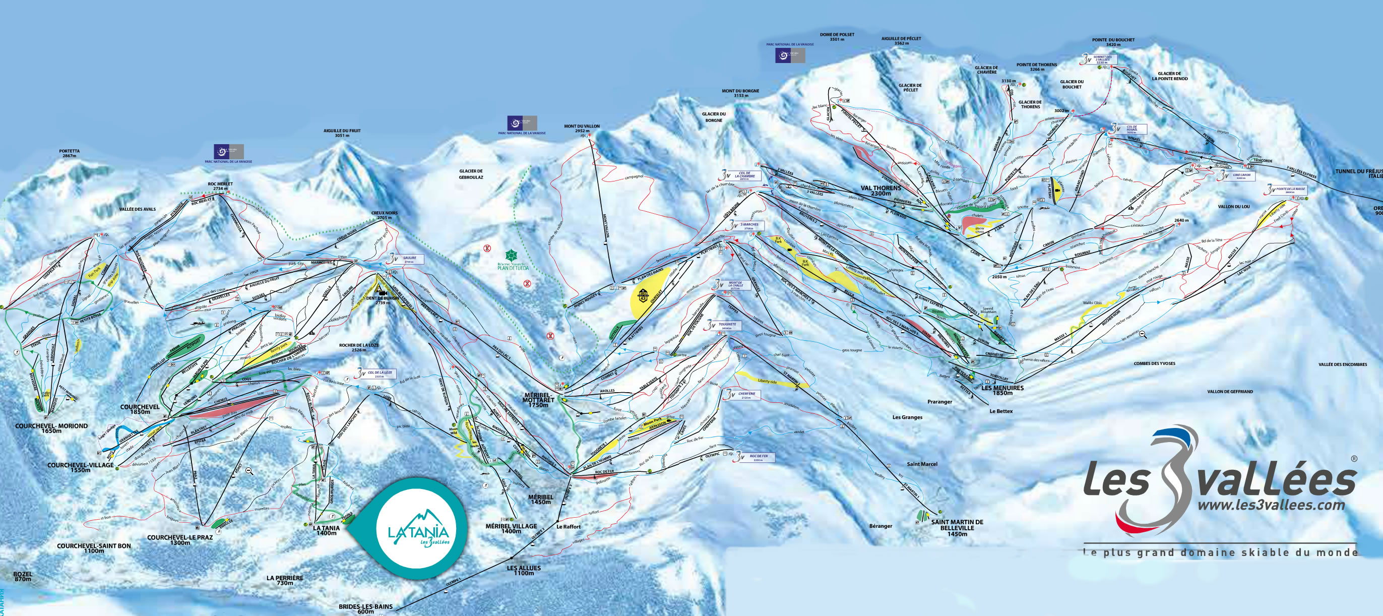 la tania piste map winter 2019. courchevel piste map. 3 valleys