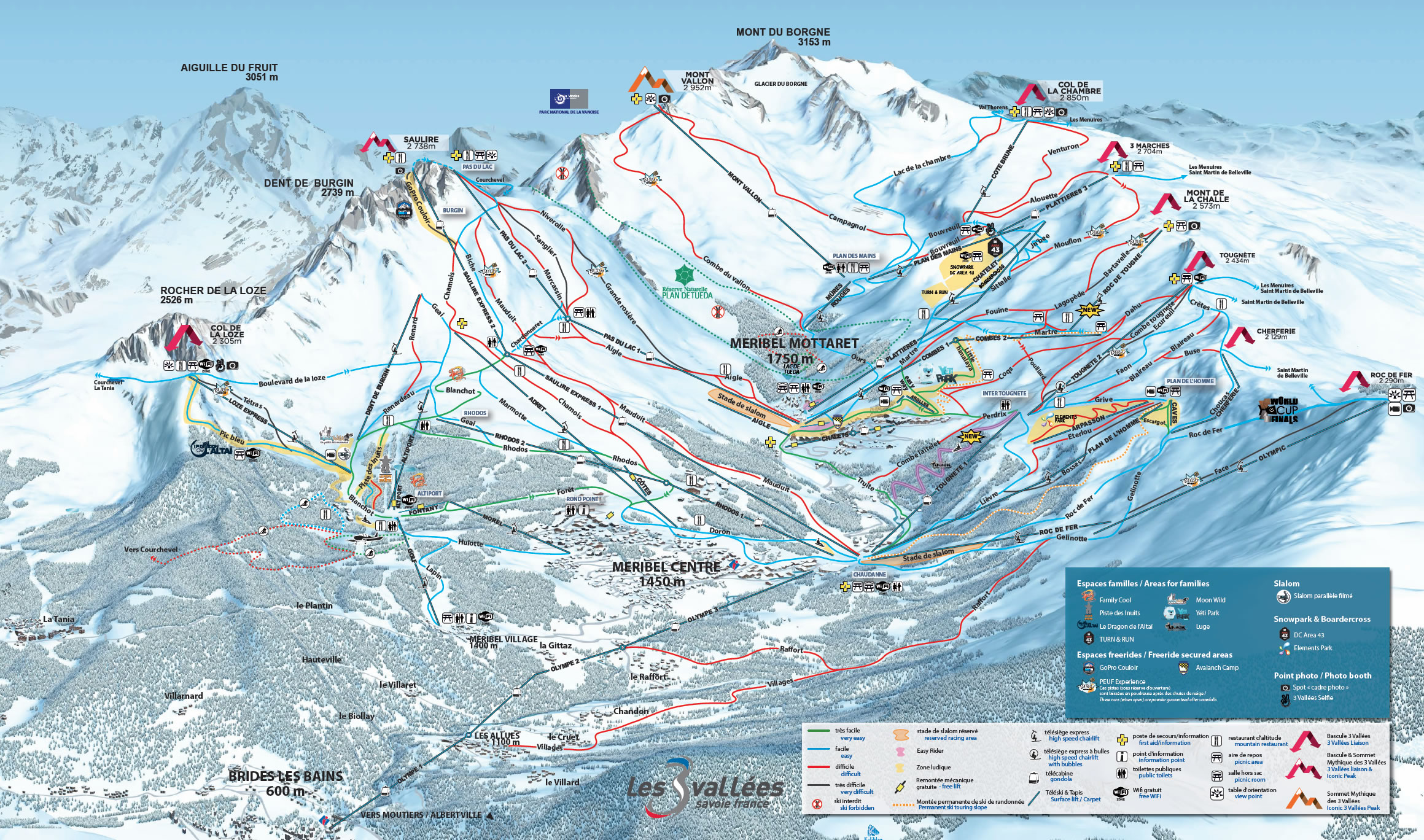 Meribel Ski Map La Tania Piste Map Winter 2019. Courchevel Piste Map. 3 Valleys  Meribel Ski Map