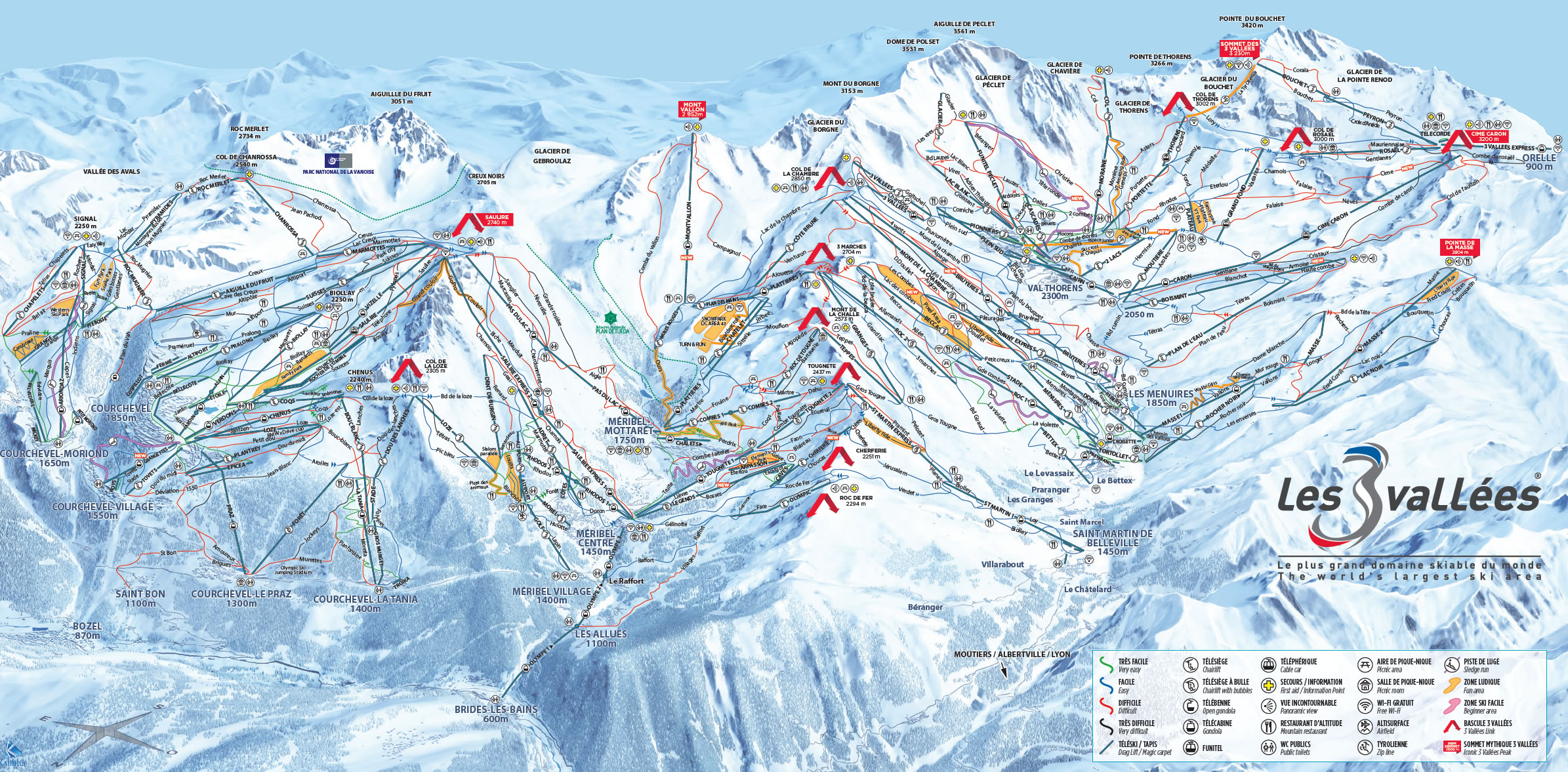 3 Valleys Piste Map