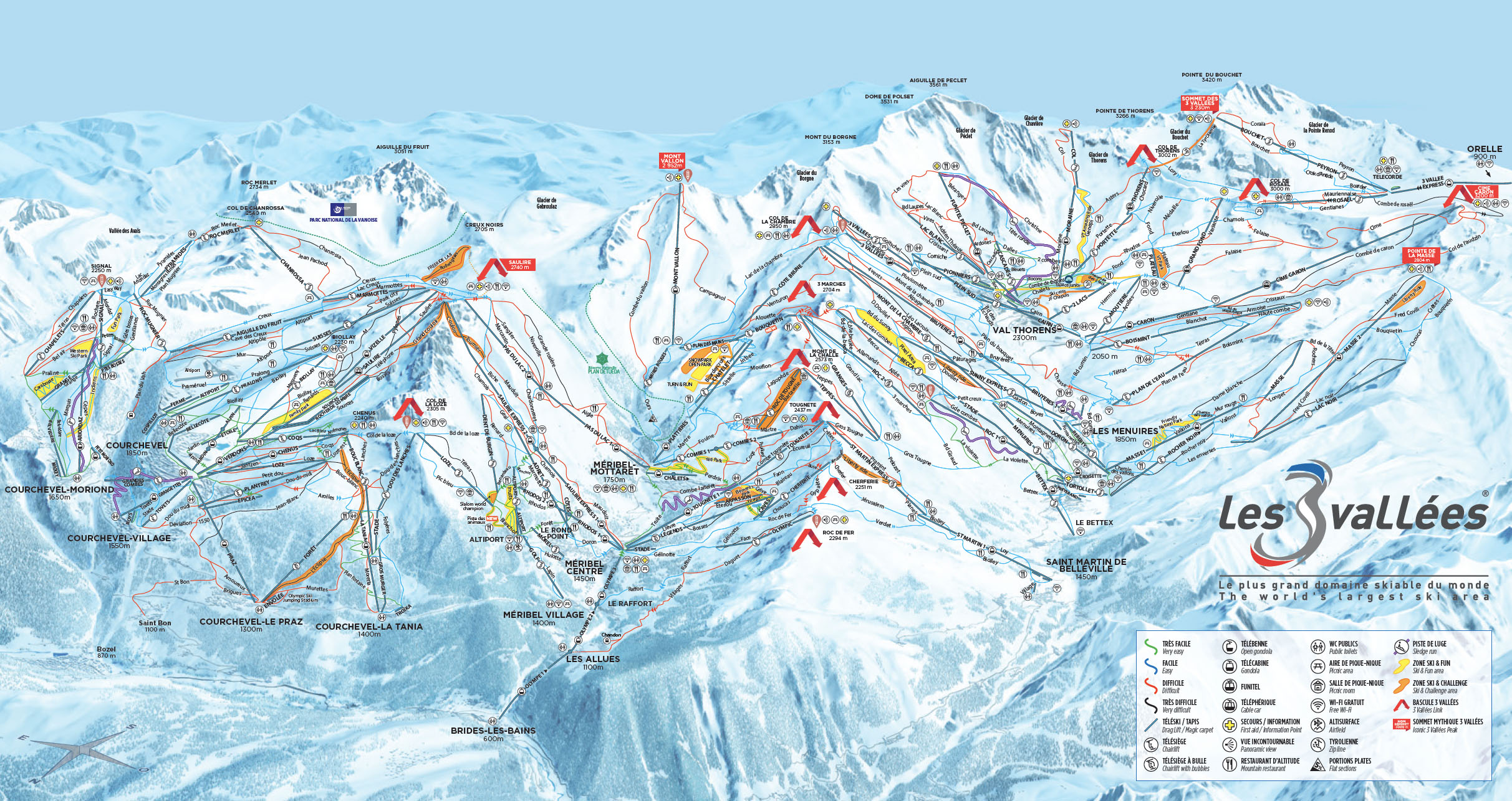 3 Valleys Piste Map