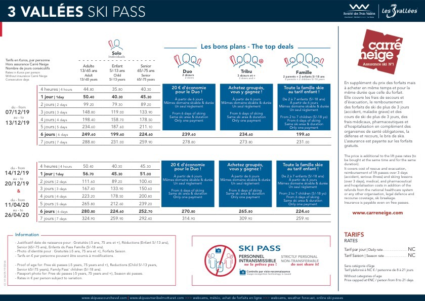 La Tania Lift Pass Prices 2020  Three Valleys Lift Pass